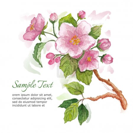 Template for greeting card with watercolor apple blossoms