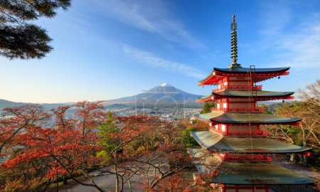 Mt. Fuji with Chureito Pagoda at sunrise, Fujiyoshida, Japan