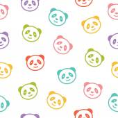 Seamless colorful pattern with panda bear Vector illustration