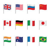 World flags isolated on white background Vector set