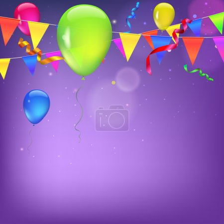 Illustration for Background with flags, garlands, streamers and balloons for your presentation. Greeting card with bokeh effect on background. Colored flags, pennants, streamers and balloons with glow and bokeh effect - Royalty Free Image