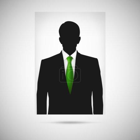 Illustration pour Photo de profil cravate verte. Silhouette de personne inconnue, profil de silhouette - image libre de droit