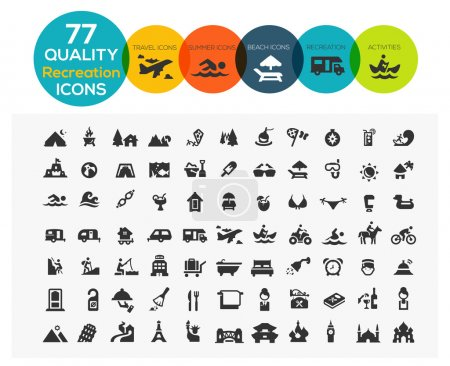 Illustration for 77 High Quality Recreation Icons including: travel, beach, sports, hotel and camping - Royalty Free Image