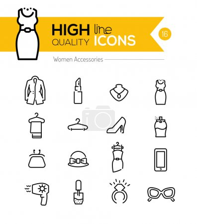 Women Accessories line icons series
