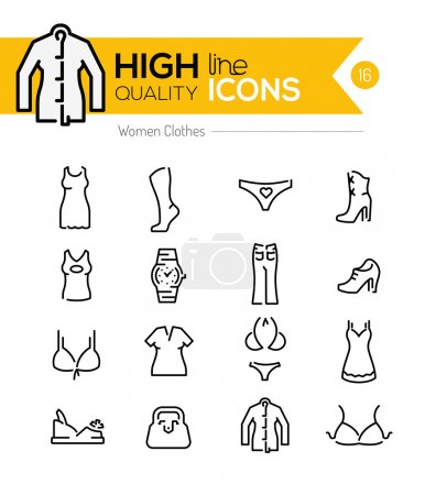 Women Clothes line Icons series