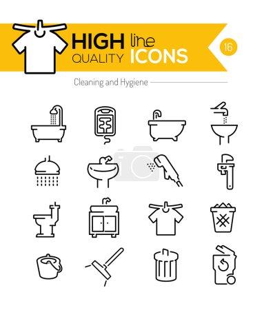 Illustration pour Icônes de ligne Nettoyage et Hygiène - image libre de droit