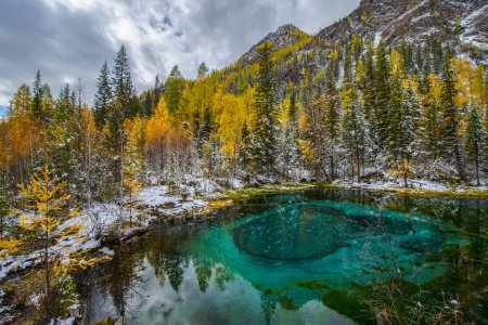 Blue spring lake Golden autumn in Altai, Aktash region.