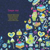 Appetizing tea party texture pattern background with cakes and sweets