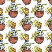 Summer seamless cocktail background Alcohol endless pattern with fruits
