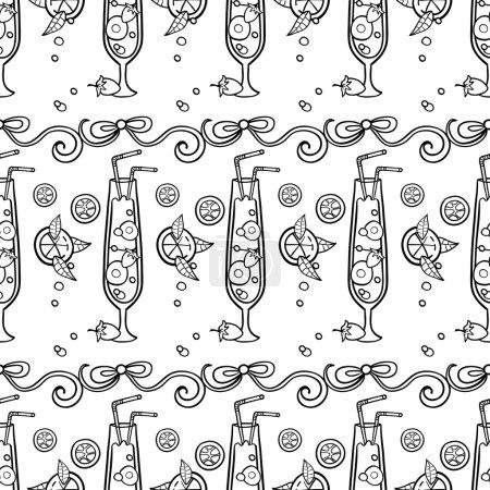 Summer cocktail pattern background