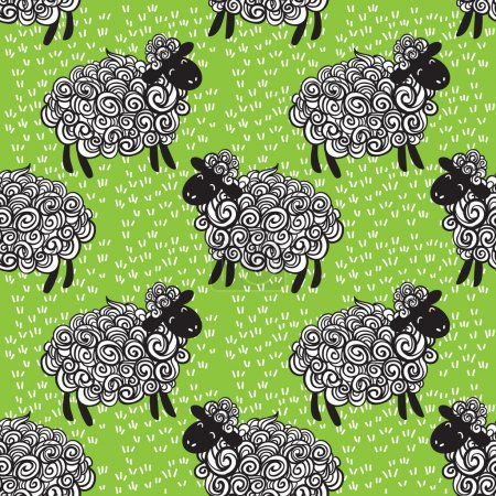 Sheep pattern vector background