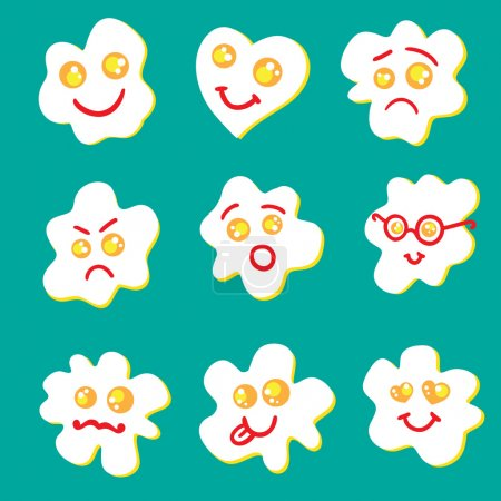 Illustration for Fried eggs emoticon set. Happy, love, sad, angry, afraid, geek, mustache, tongue, heart eggs. - Royalty Free Image