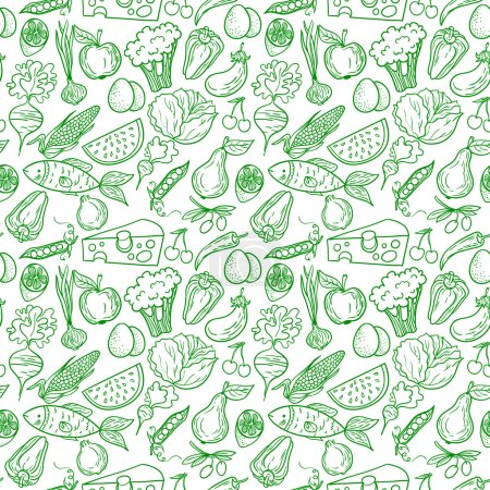 Illustration for Healthy diet seamless pattern. Fruit and vegetable endless textured background. - Royalty Free Image