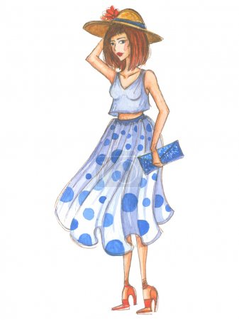 Watercolor fashion girl