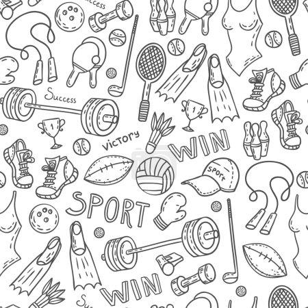Illustration pour Fond de modèle d'équipement de sport sans couture. Illustration mode de vie actif . - image libre de droit
