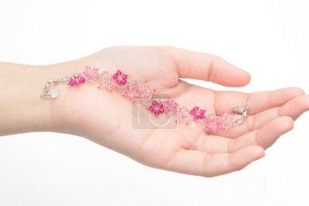 Beautiful crystal Bracelet on woman hand...