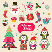 Vector set of Christmas decoration with symbols icons elements
