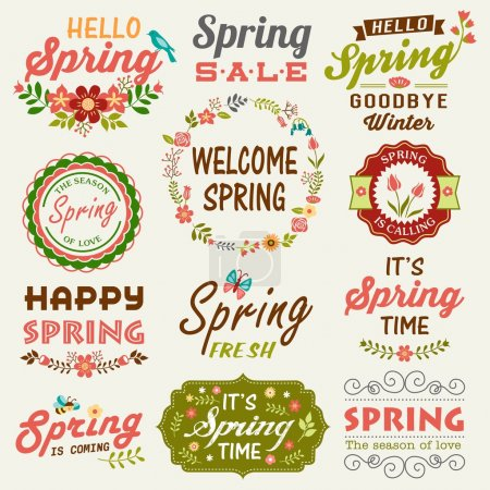 Illustration for Vintage Spring typography design with labels, icons elements collection - Royalty Free Image