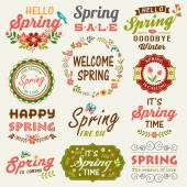 Vintage Spring typography design with labels icons elements collection