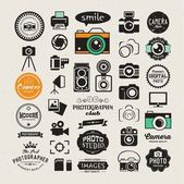 Photography vintage retro icons badges and labels set Vector photography logo templates