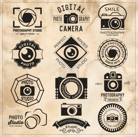 Photography vintage retro badges, labels and icons set. Vector photography logo templates.