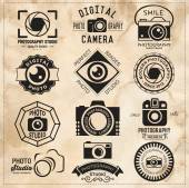 Photography vintage retro badges labels and icons set Vector photography logo templates