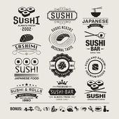 Vector Sushi logotypes set Sushi vintage design elements logos badges label icons and objects