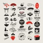 Vector Sushi logotypes set. Sushi vintage design e...
