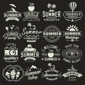 Summer logotypes set Summer typography designs Vintage design elements logos labels icons objects and calligraphic designs Summer holidays