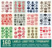 160 Labels and Logotypes design set Retro Typography design Badges Logos Borders Arrows Ribbons Icons and Objects