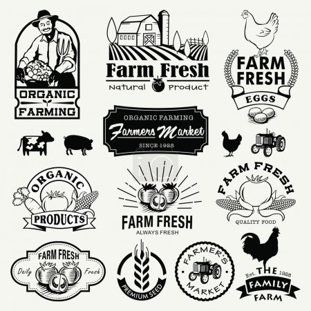 Illustration for Farm logotypes set. Retro Farm Fresh labels, logos, badges, icons, objects and elements. - Royalty Free Image