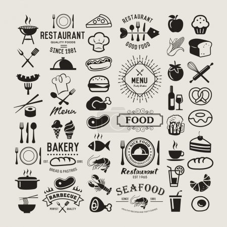 Illustration for Food logotypes set. Restaurant vintage design elements, logos, badges, labels, icons and objects - Royalty Free Image
