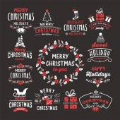 Christmas decoration collection - calligraphic and typographic design with badges labels icons logos and objects elements