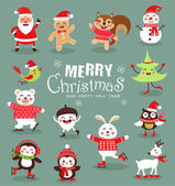 Funny Christmas Characters set Cute animals Vector illustration