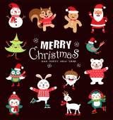 Sada vtipné vánoční znaků. Roztomilý zvířat. Vektorové ilustrace