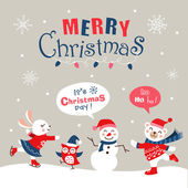 Funny cartoon christmas card banner and poster design Vector illustration