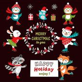 Set of cute cartoon christmas characters Vector illustration