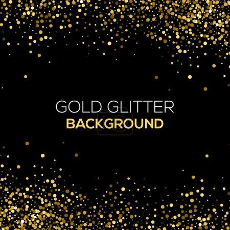 Illustration pour Paillettes de confettis d'or sur fond noir. Abstrait fond de paillettes de poussière d'or. Une explosion dorée de confettis. Fond abstrait granuleux doré. Conception vectorielle - image libre de droit