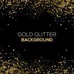 Gold confetti glitter on black background. Abstrac...