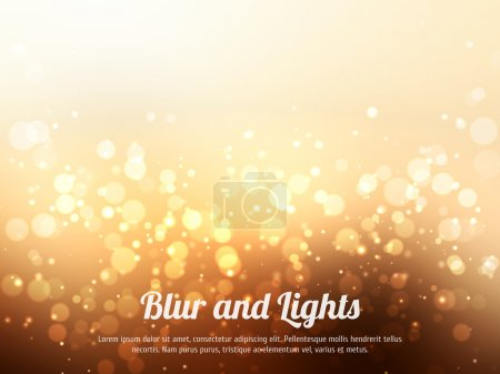 Illustration for Abstract gold colorful bokeh background. Festive background with defocused lights - Royalty Free Image