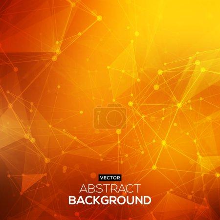 Polygonale orange rouge low poly abstrait avec points et lignes de raccordement. Structure de connexion. Fond de vecteur de science. Fond de vectoriel polygonal. Fond de Hud futuriste