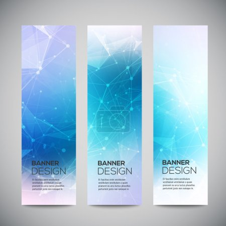 Vector vertical banners set with polygonal abstract shapes, with circles, lines, triangles. Polygonal banners