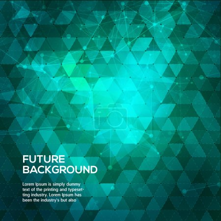 Illustration for Abstract blue and green background with triangles. Abstract polygonal space low poly dark background with connecting dots and lines. Polygonal vector background. Futuristic HUD background. Vector - Royalty Free Image