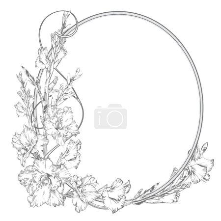 Illustration pour Une fleur de gladiole. Fleurs vintage élégantes. Illustration vectorielle noir et blanc. Botanique - image libre de droit