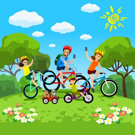 Family with kids concept of cycling in the park. Happy family riding bikes. The family in the park on bicycles