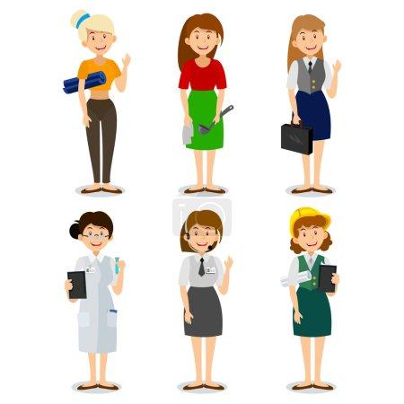 Illustration pour Ensemble de femme de profession colorée style plat icônes ingénieur, une femme au foyer, un instructeur de yoga, chercheur, entrepreneur, consultant au téléphone. Personnages de différentes professions - image libre de droit