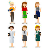Set of colorful profession woman flat style icons engineer, a housewife, a yoga instructor, researcher, entrepreneur, consultant on the phone.  Vector characters of different professions