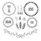 Set of Boho Style Frames and hand drawn elements Hand drawn sign in boho style with arrows and feathers Set of Ornamental Boho Style Elements Vector illustration