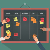 Vector illustration of scrum agile board with flat hand and stickers