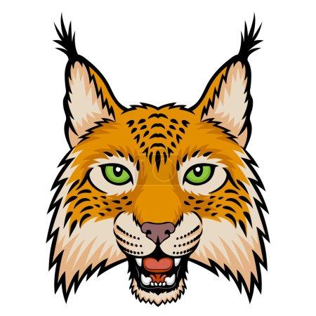 Illustration pour Un logo de tête de lynx. Ceci est une illustration vectorielle idéale pour une mascotte et un tatouage ou un T-shirt graphique . - image libre de droit